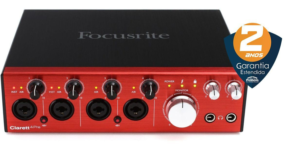 Interface de Áudio Focusrite Clarett 4Pre Thunderbolt 18x8 192khz