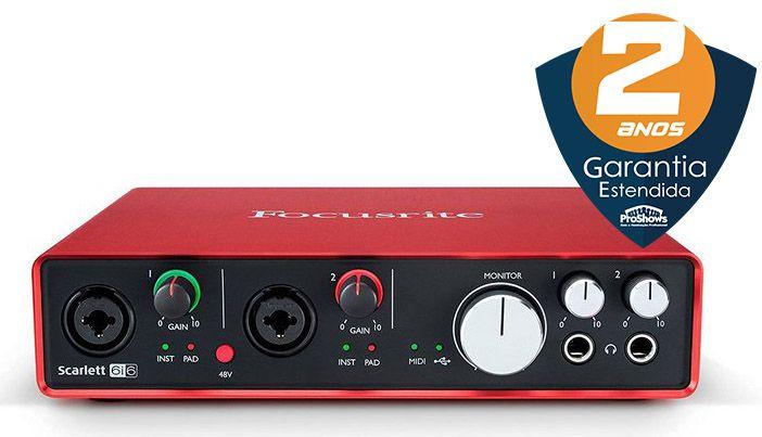 Interface de Áudio Focusrite Scarlett 6i6 USB 2nd Geração