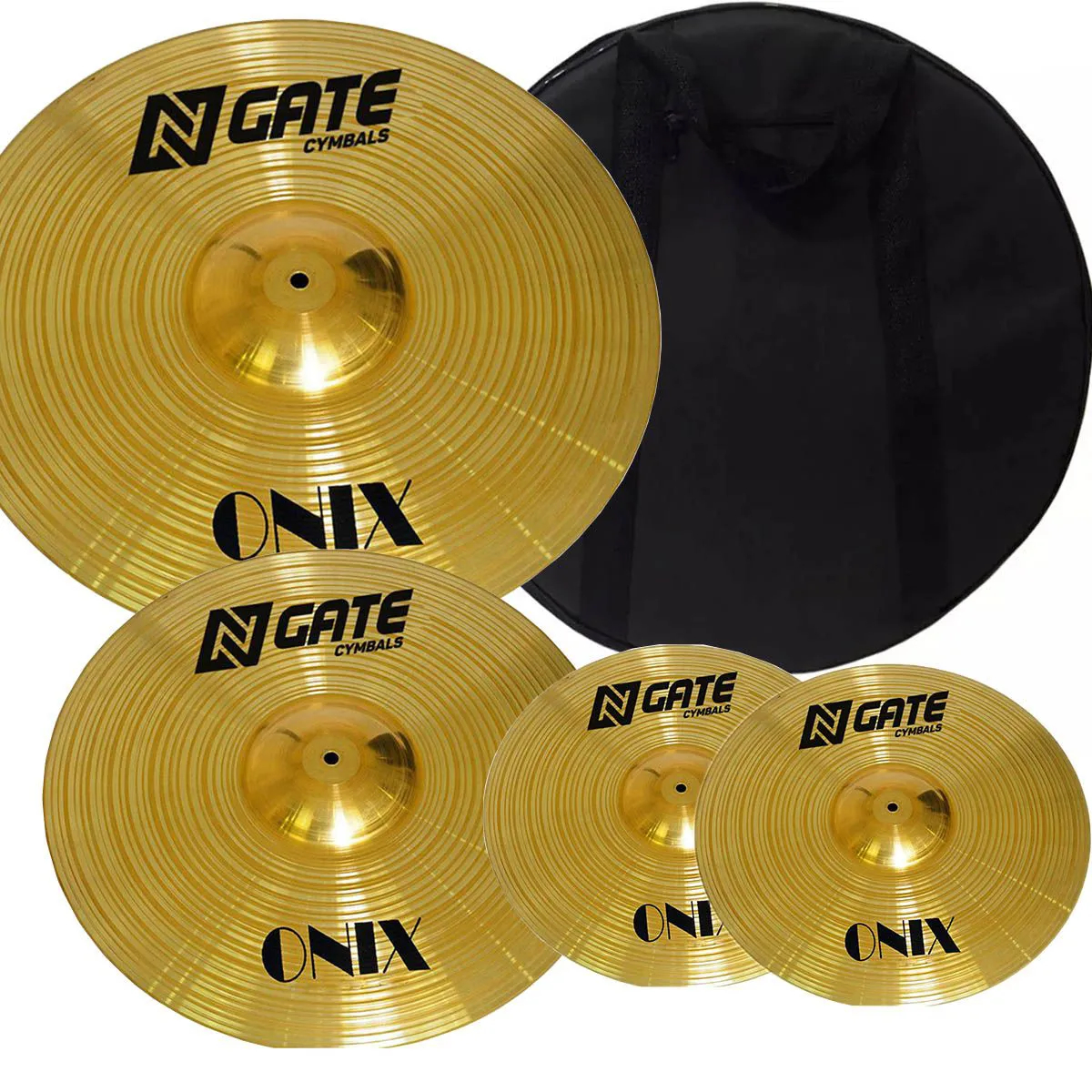 Kit de Pratos N.gate Séries Onix 13HH+14MC+18 Crash com Bag