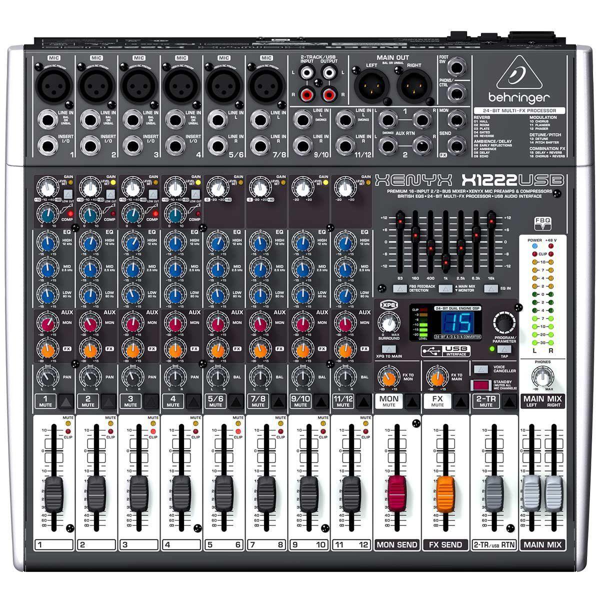 Mesa de Som Behringer Xenyx X1222 USB 12 Canais