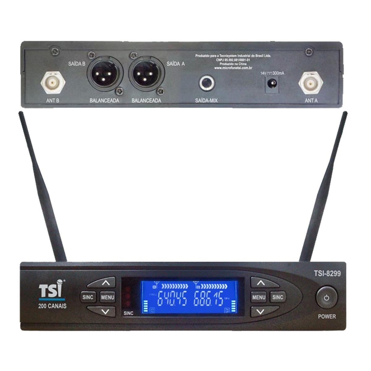 Microfone Duplo sem Fio TSI 8299-UHF
