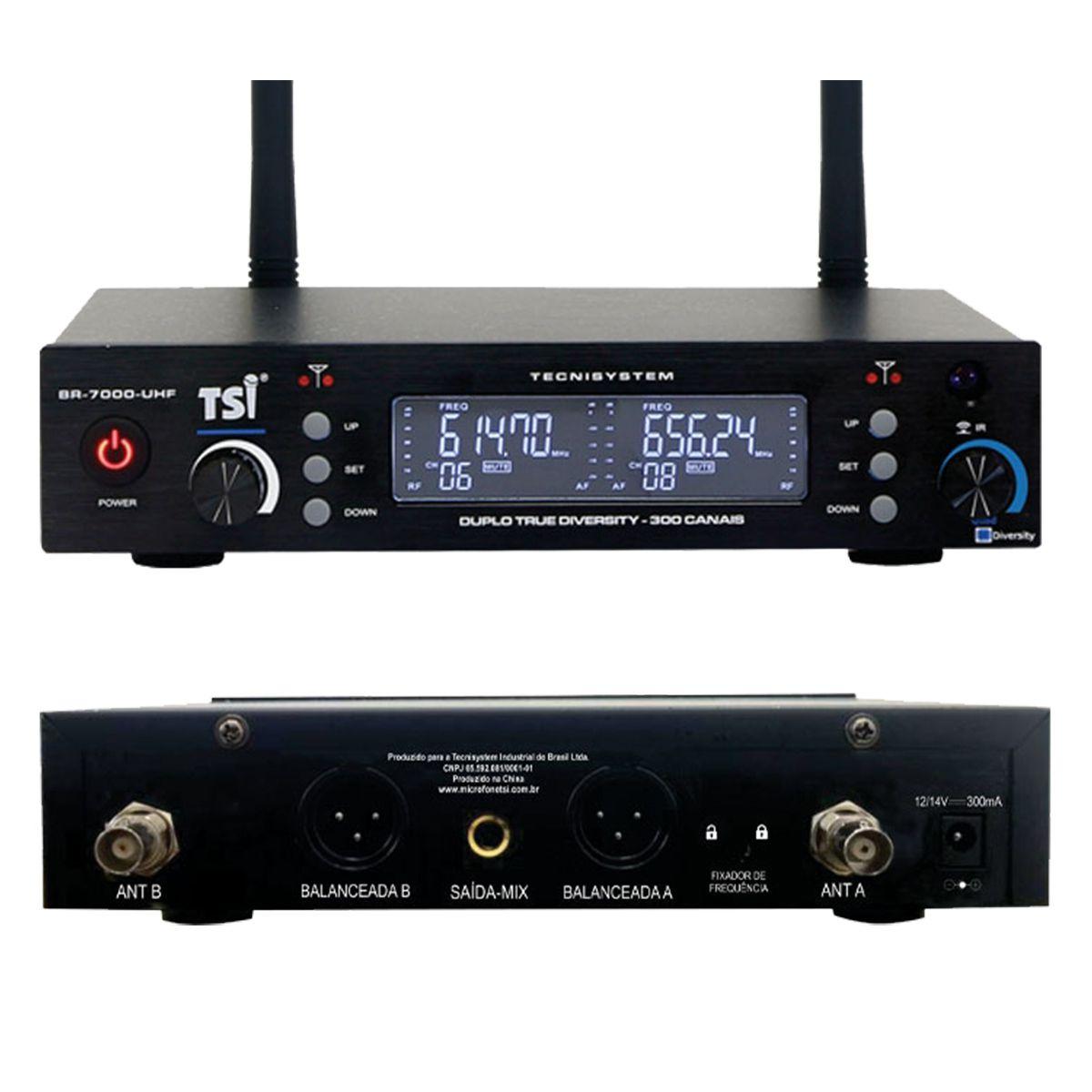Microfone Duplo Sem Fio TSI BR7000-UHF Broadcast Series