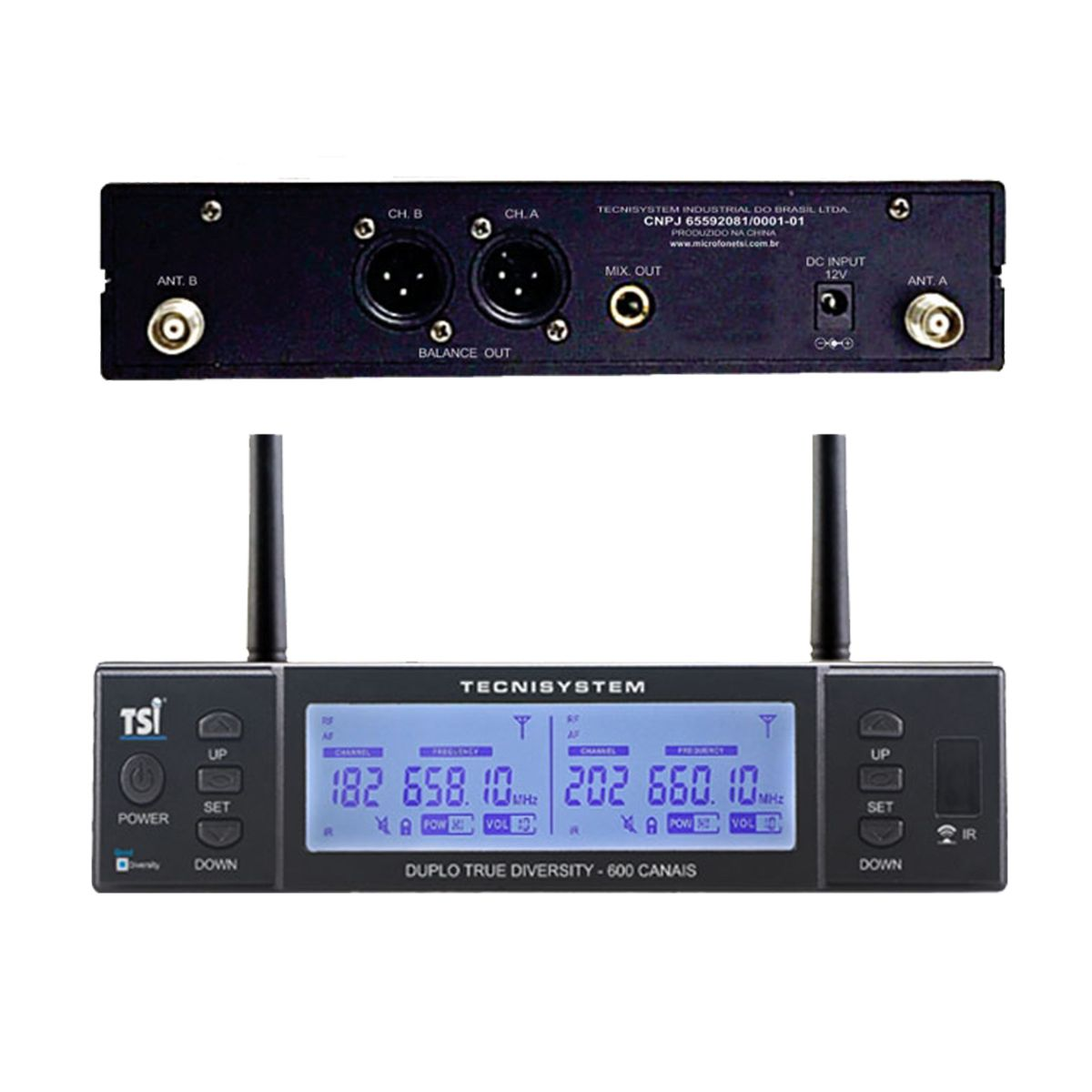 Microfone Duplo Sem fio TSI BR8000-UHF Broadcast Series