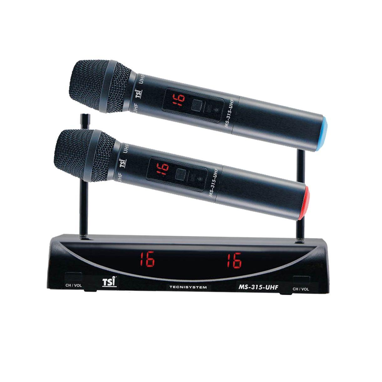 Microfone Duplo Sem Fio TSI MS315-UHF