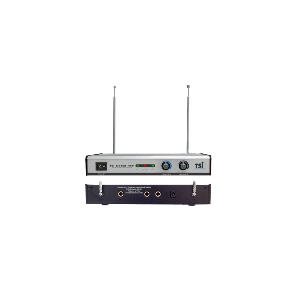 Microfone Duplo Sem Fio TSI MS 420-VHF