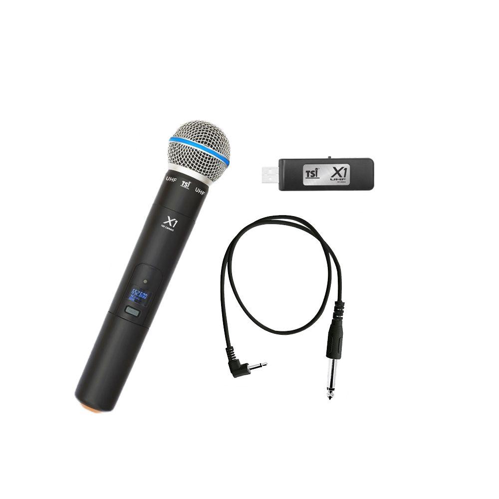 Microfone Sem Fio TSI X1 UHF 100 CANAIS USB