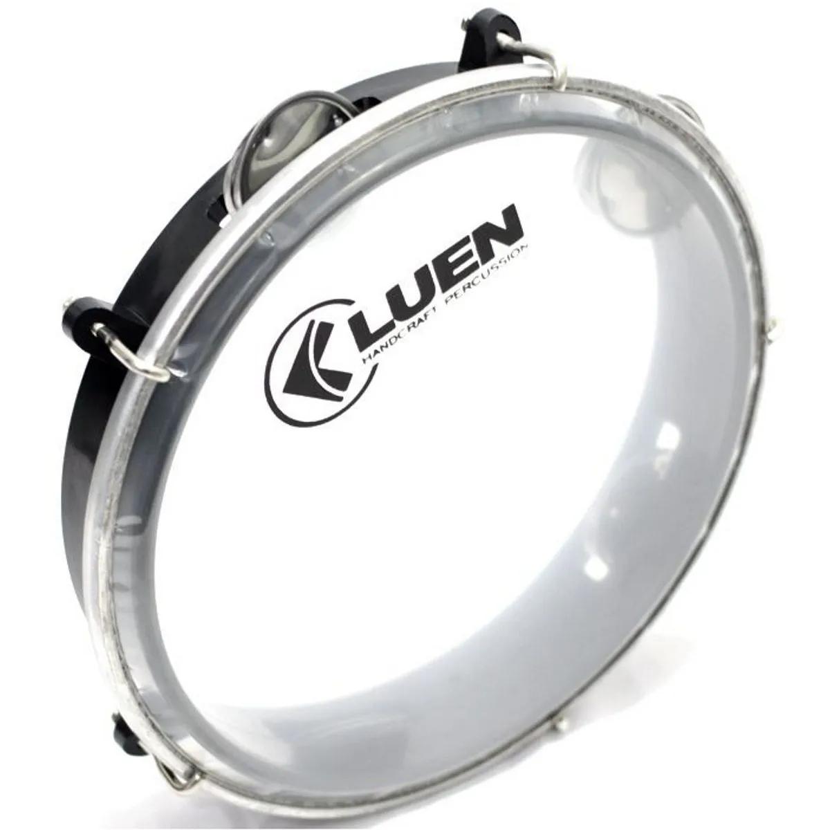 Pandeiro Junior Luen Percussion 8 Aro ABS Preto Pele Cristal