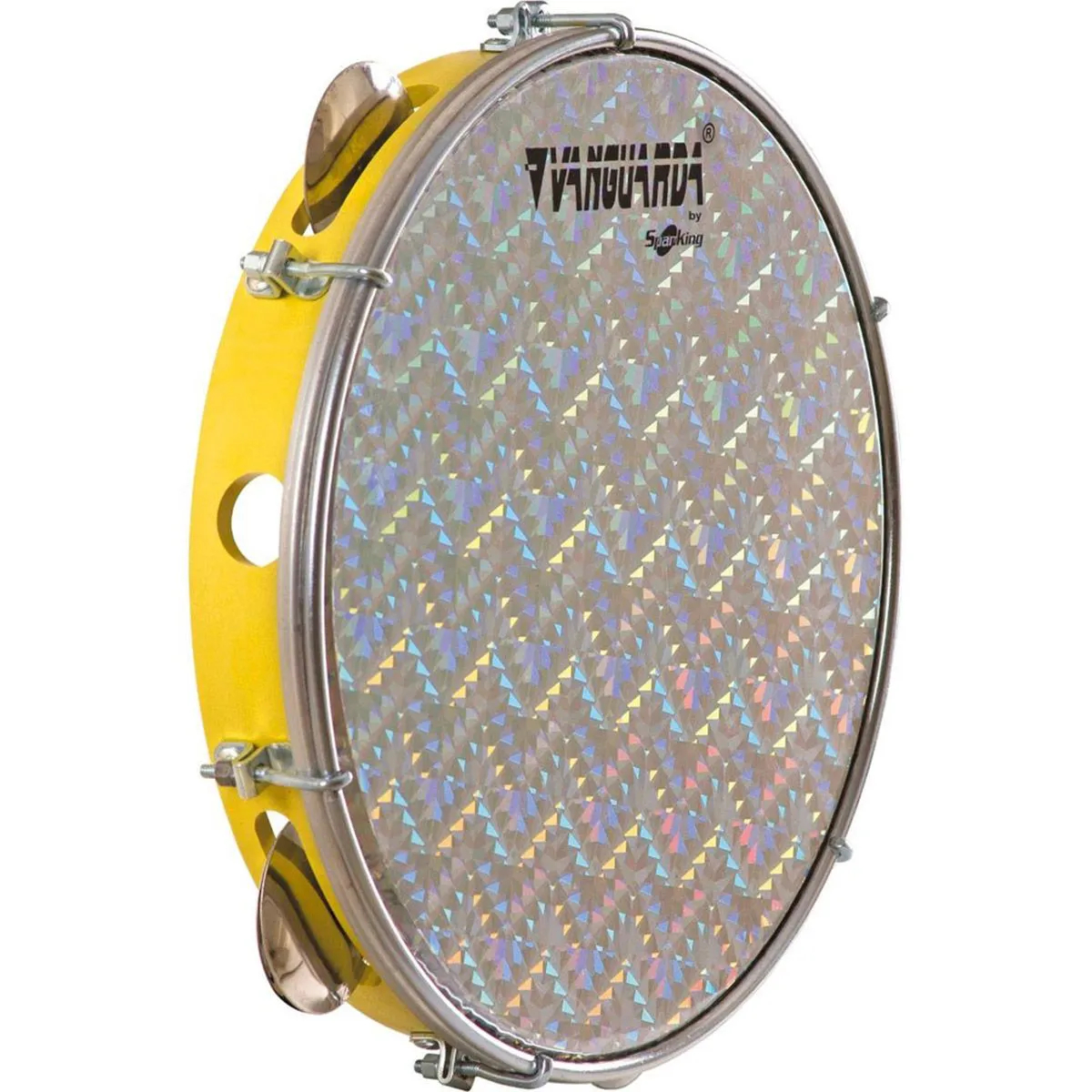 Pandeiro Spanking 10 Aro ABS Amarelo Pele Holográfica Prata
