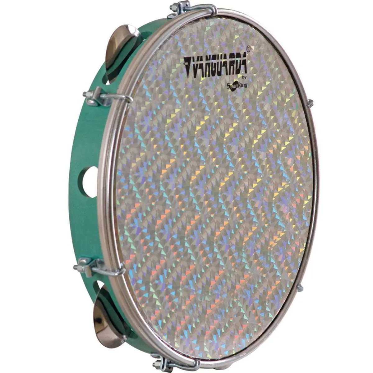 Pandeiro Spanking 10 Aro ABS Verde Pele Holográfica Prata