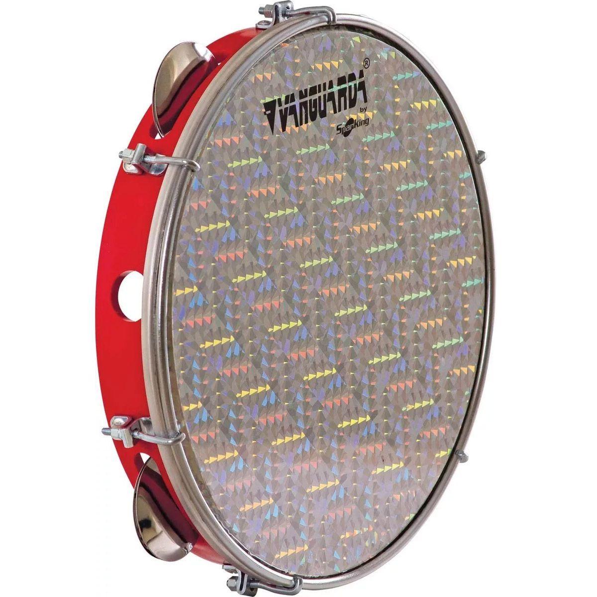 Pandeiro Spanking 10 Aro ABS Vermelho Pele Holográfica Prata
