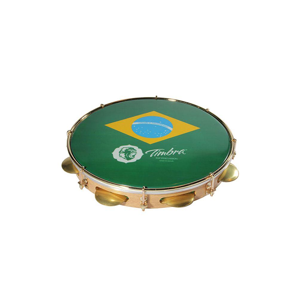 Pandeiro Timbra 11 Madeira Clara Aro Dourado com Pele Brasil