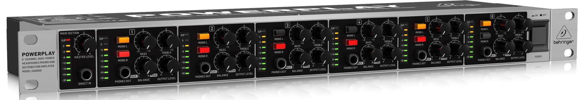 Pré Amplificador Behringer Powerplay HA6000 6 Canais