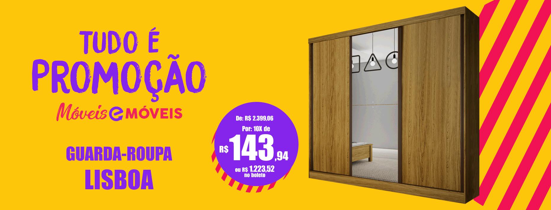 Guarda-roupa - Lisboa - 03 portas de Deslizante- Com Espelho - Bianchi Móveis