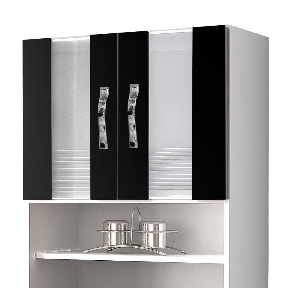 Armário de Cozinha 4 Portas Ventura Branco/Preto - CHF