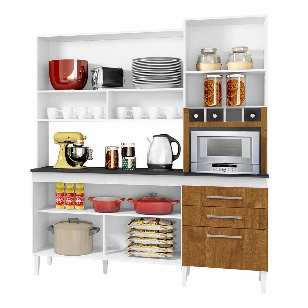 Armário de Cozinha 6 Portas Ébano Branco/Caramelo - CHF