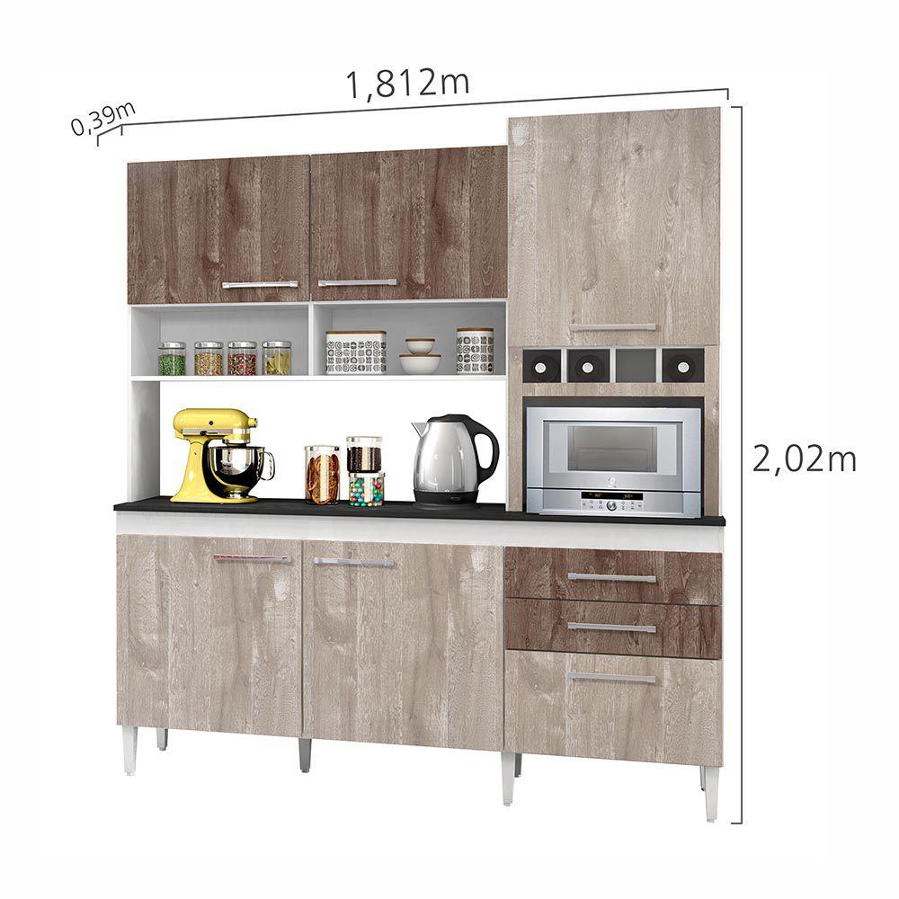 Armário de Cozinha 6 Portas Ébano Champanhe/Chocolate - CHF