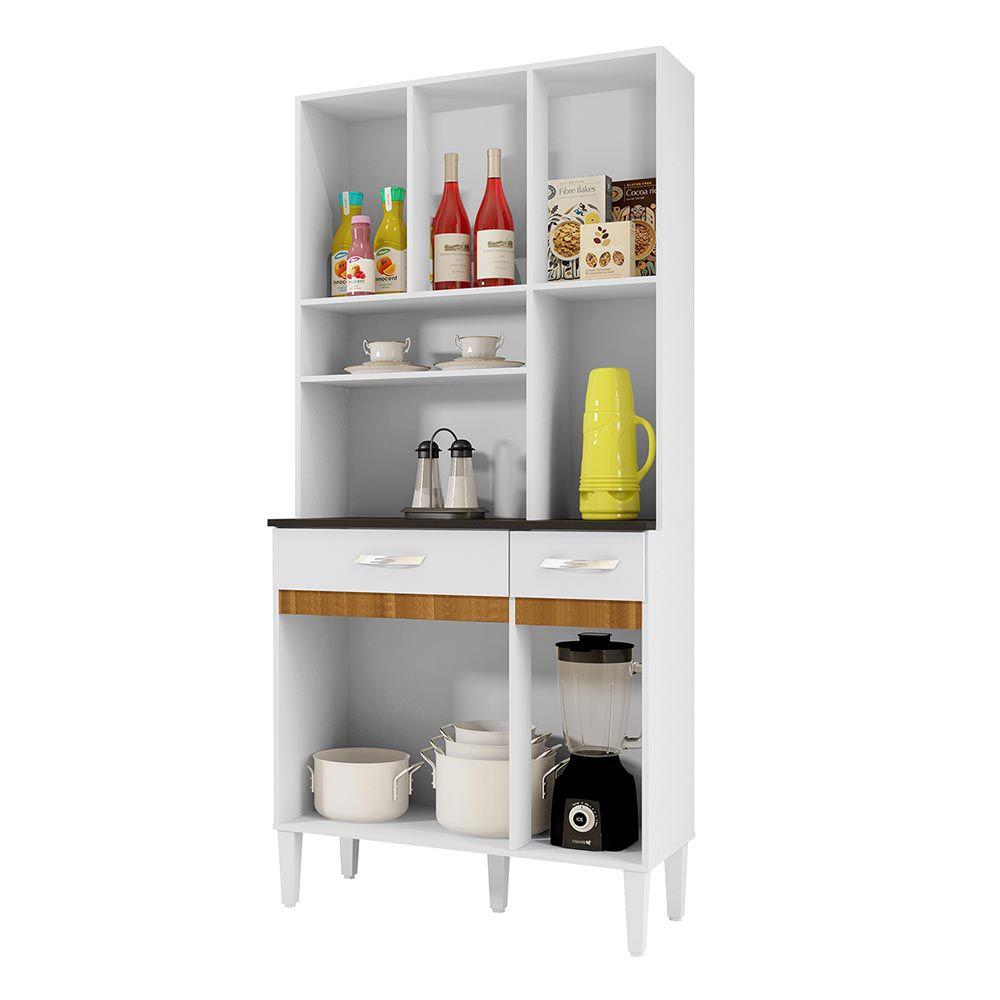 Armário de Cozinha 6 Portas Ônix Branco/Caramelo - CHF