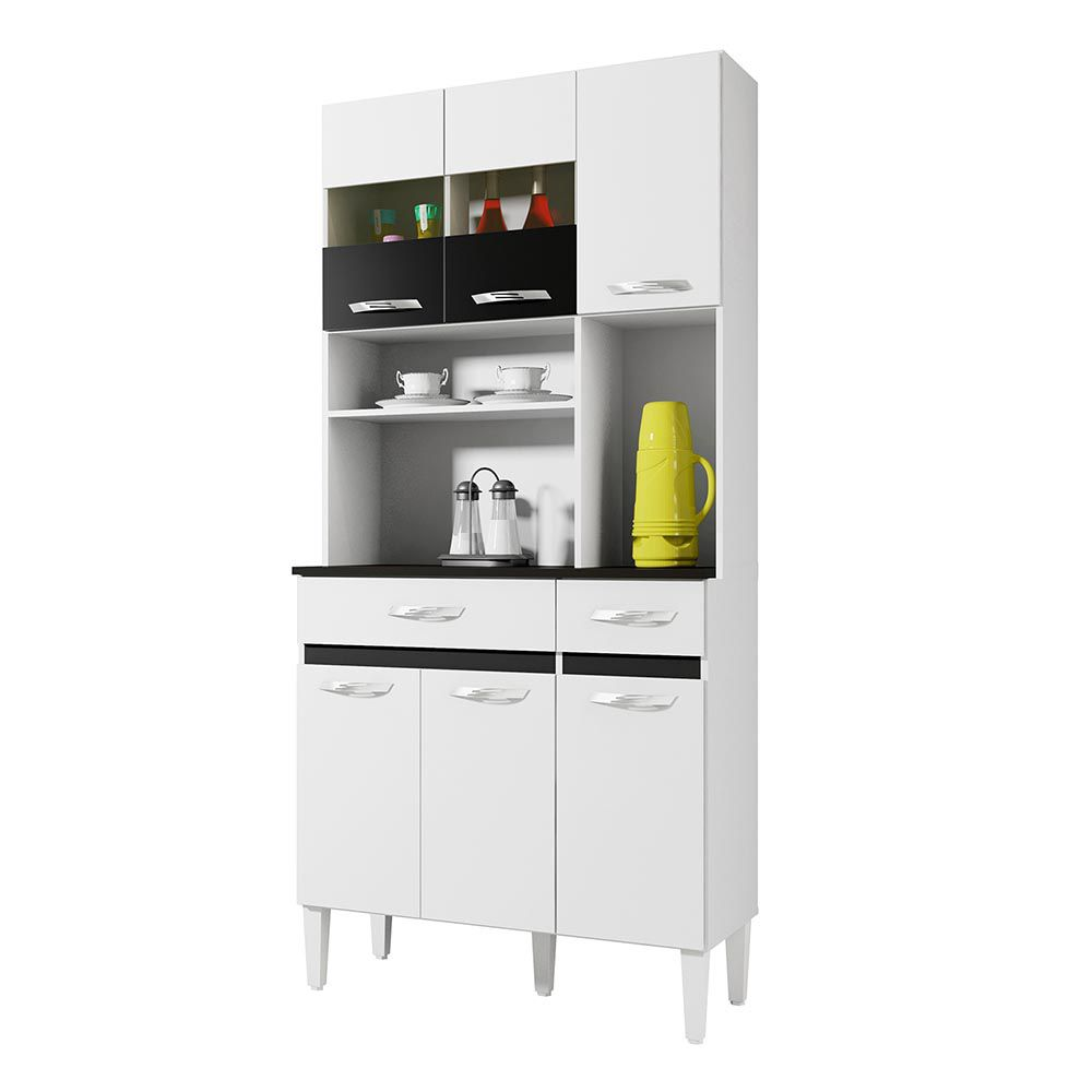 Armário de Cozinha 6 Portas Ônix Branco/Preto - CHF