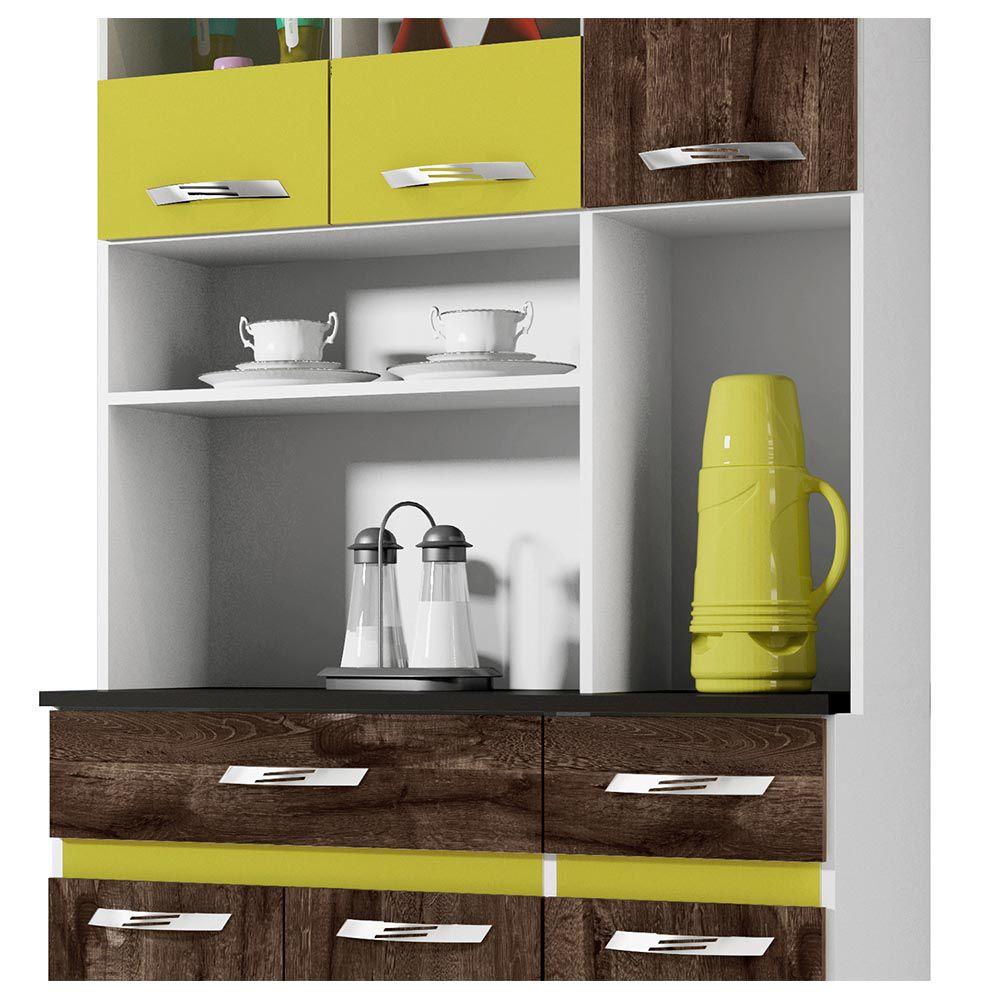 Armário de Cozinha 6 Portas Ônix Chocolate/Amarelo - CHF