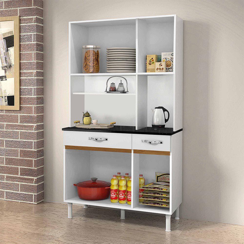 Armário de Cozinha 6 Portas Sampaio Branco/Caramelo - CHF