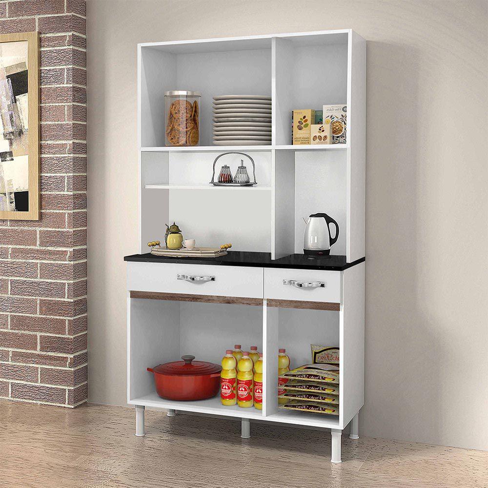 Armário de Cozinha 6 Portas Sampaio Branco/Chocolate - CHF