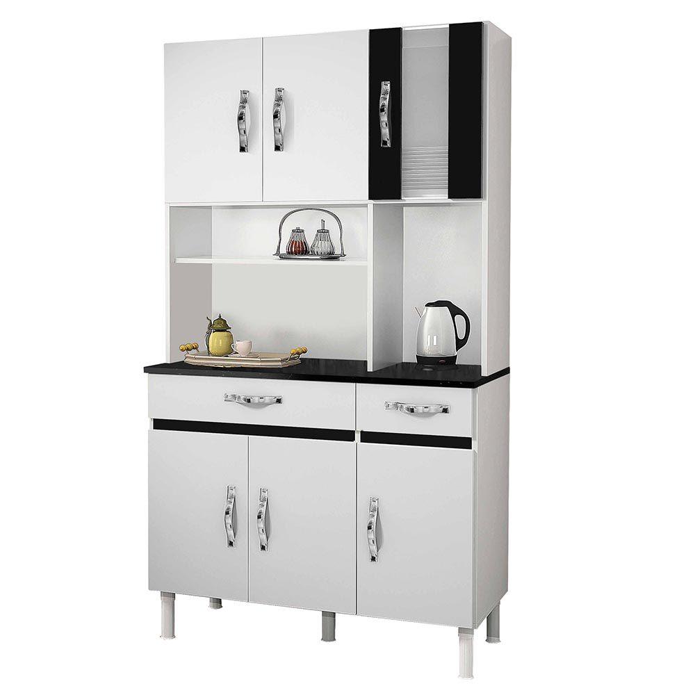 Armário de Cozinha 6 Portas Sampaio Branco/Preto - CHF