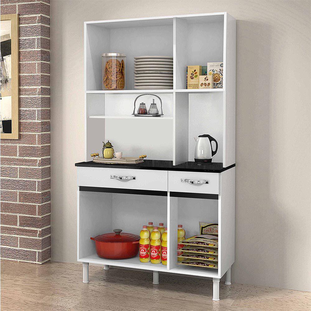 Armário de Cozinha 6 Portas Ventura Branco/Preto - CHF