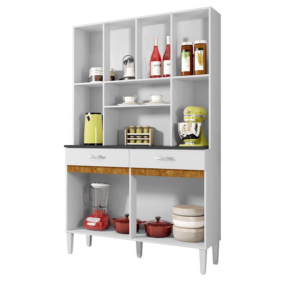 Armário de Cozinha 8 Portas Ônix Branco/Caramelo - CHF