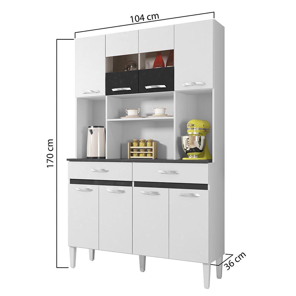 Armário de Cozinha 8 Portas Ônix Branco/Preto - CHF