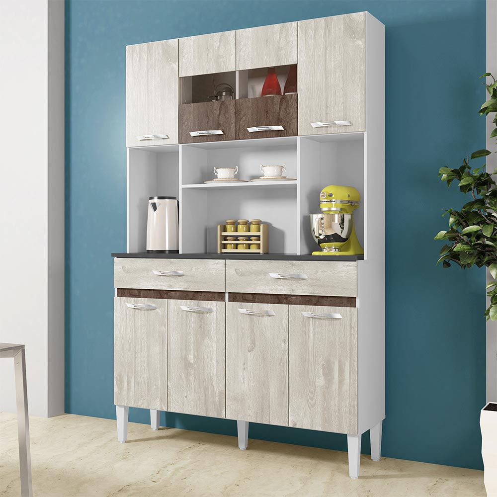 Armário de Cozinha 8 Portas Ônix Champanhe/Chocolate - CHF