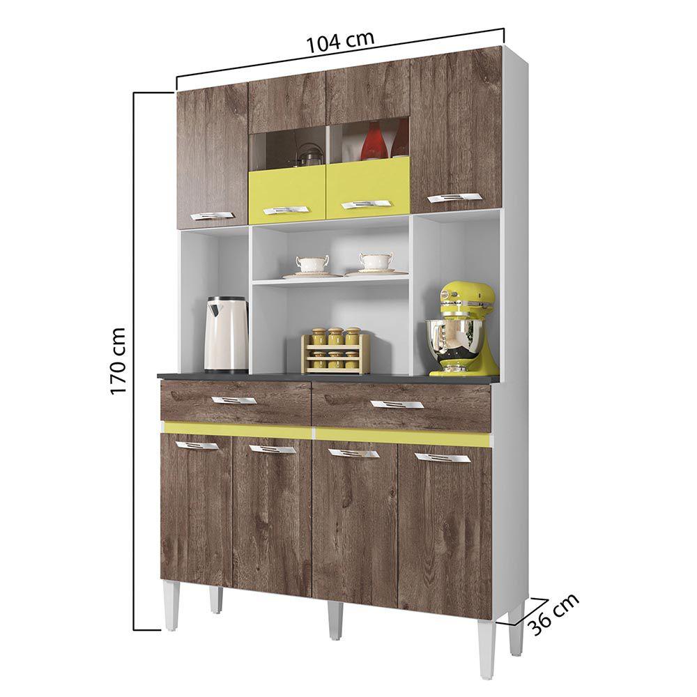 Armário de Cozinha 8 Portas Ônix Chocolate/Amarelo - CHF