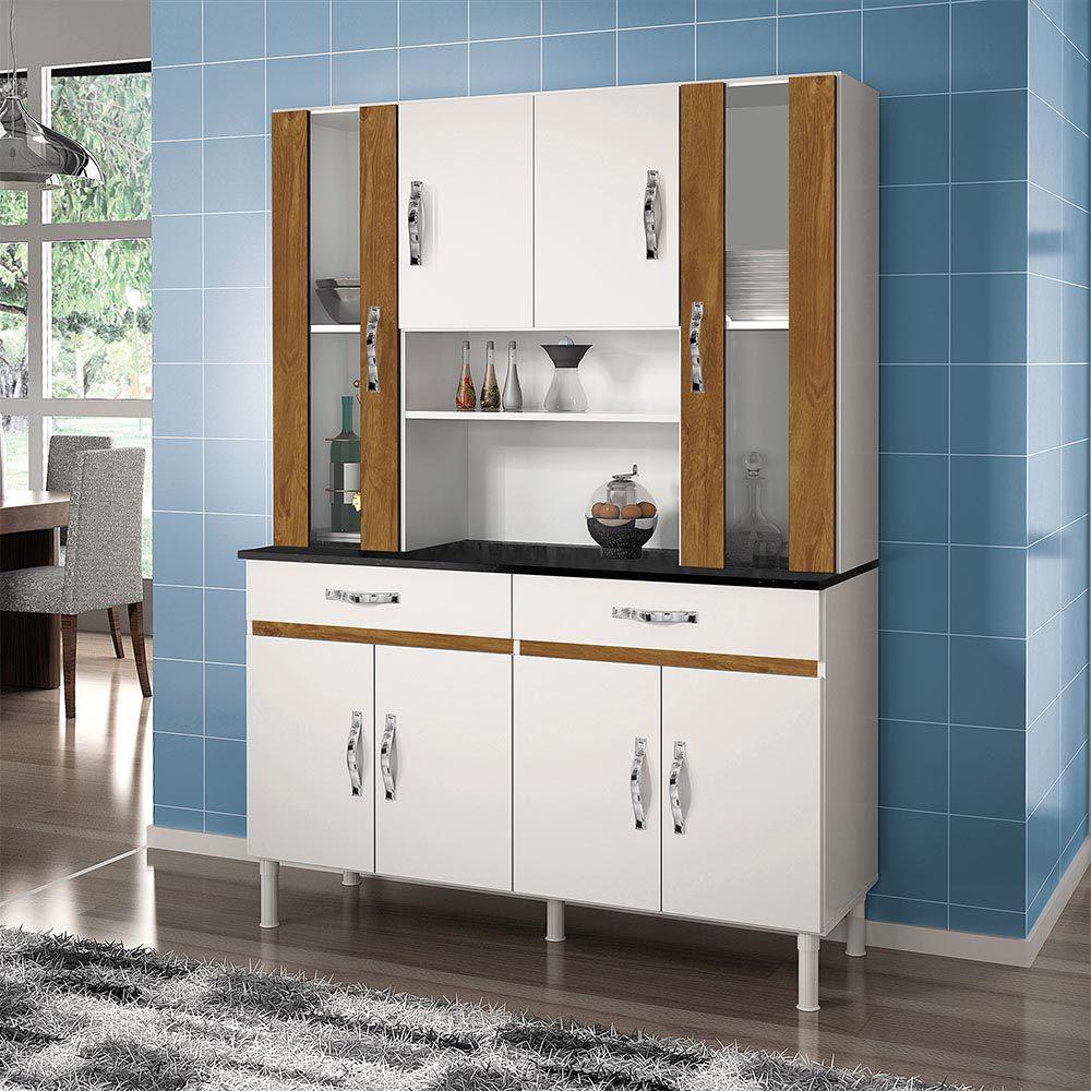 Armário de Cozinha 8 Portas Sampaio Branco/Caramelo - CHF