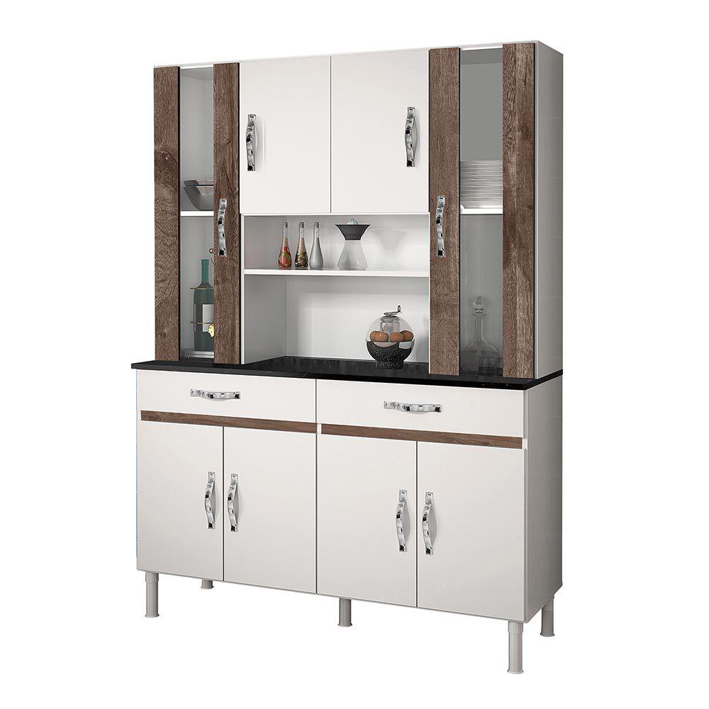 Armário de Cozinha 8 Portas Sampaio Branco/Chocolate - CHF