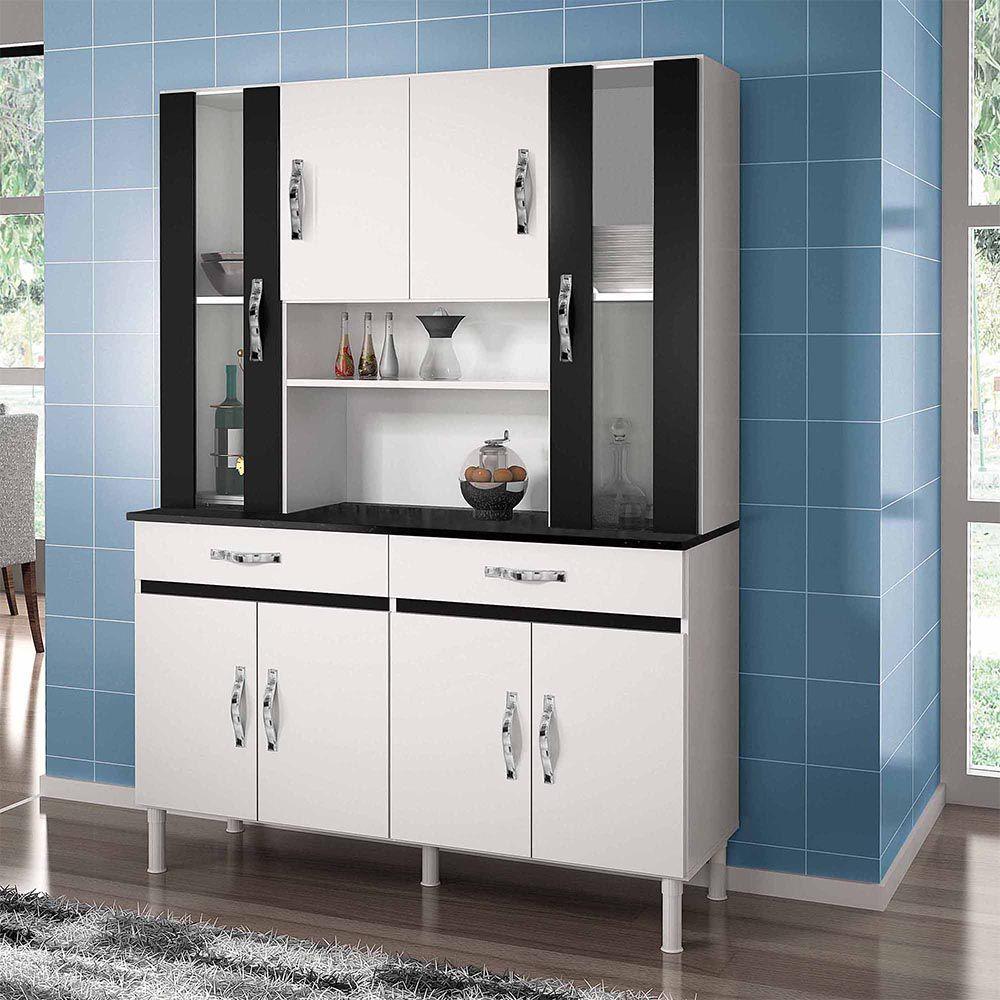 Armário de Cozinha 8 Portas Sampaio Branco/Preto - CHF