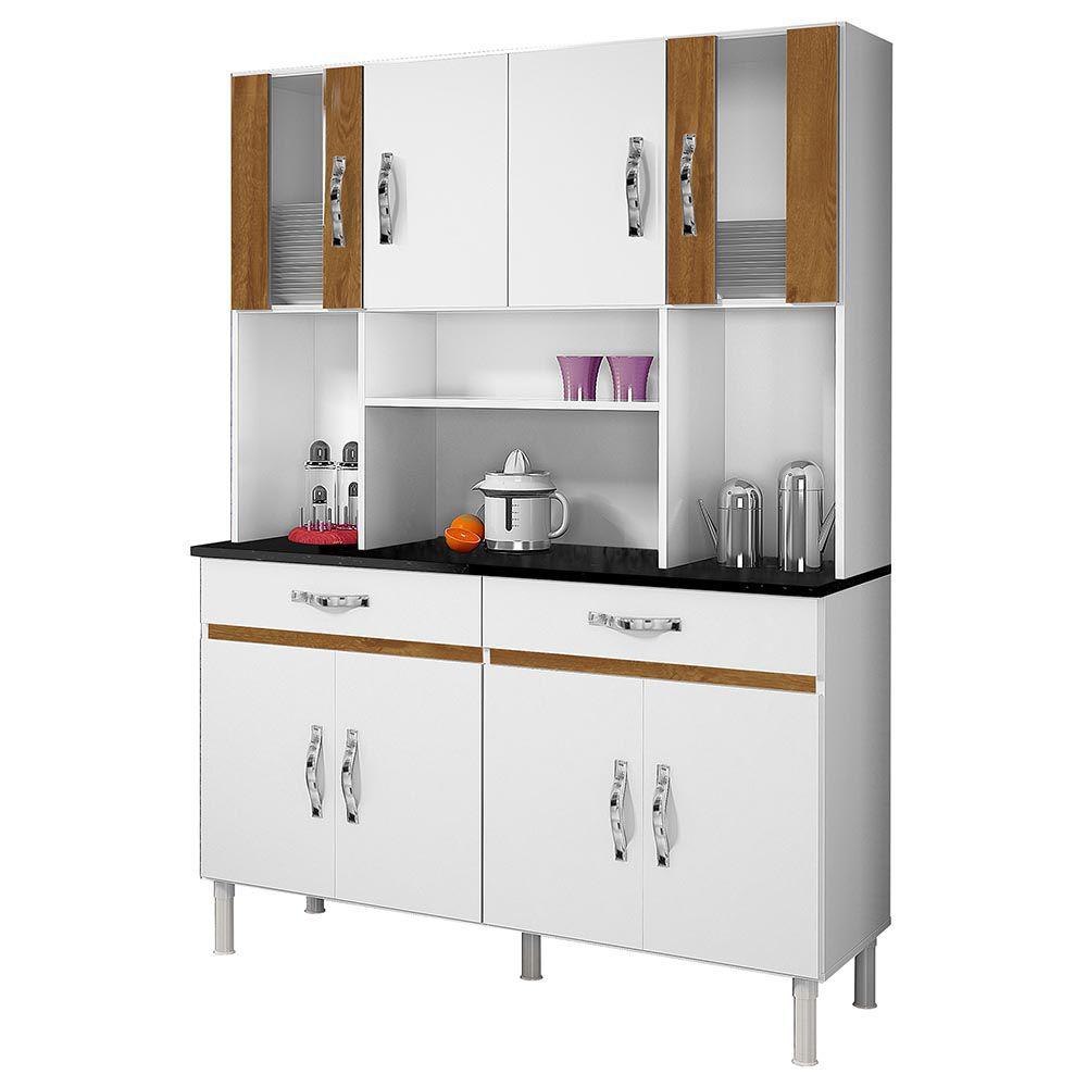 Armário de Cozinha 8 Portas Ventura Branco/Caramelo - CHF