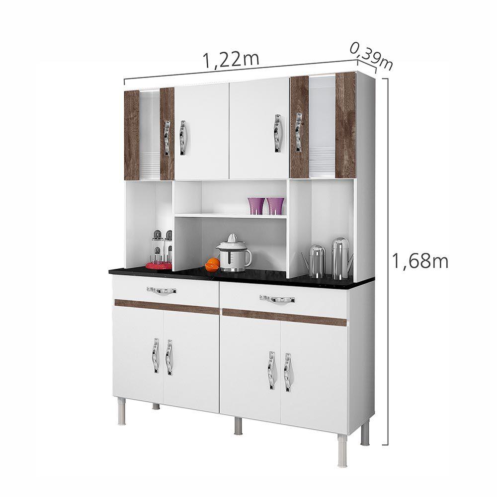 Armário de Cozinha 8 Portas Ventura Branco/Chocolate - CHF