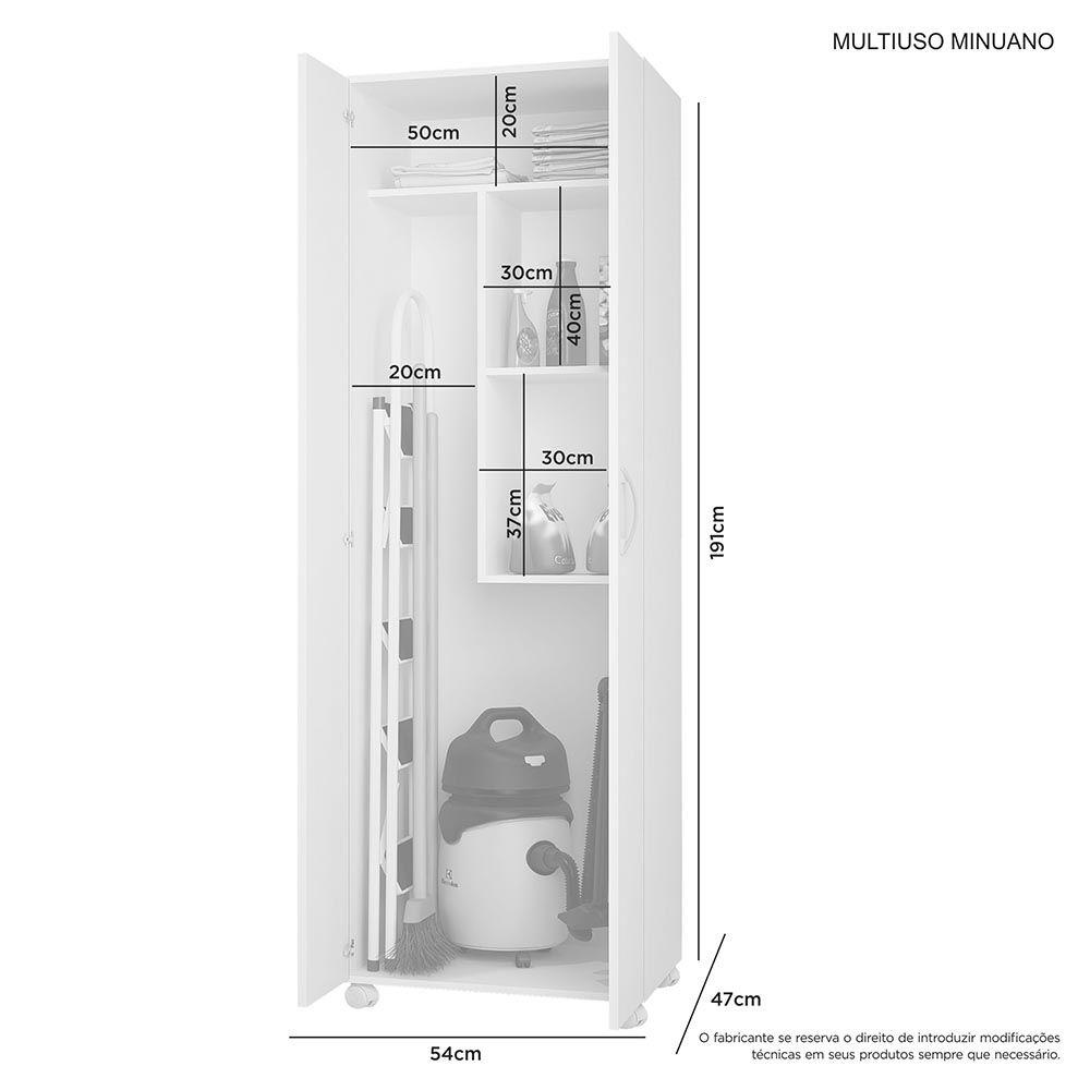Armário Multiuso 2 Portas Minuano Branco JCM Móveis