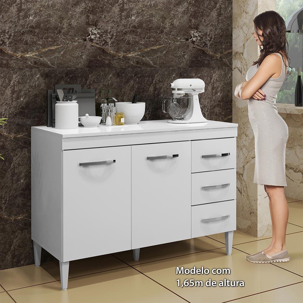 Balcão Virtus com Tampo Branco - Kaiki Móveis