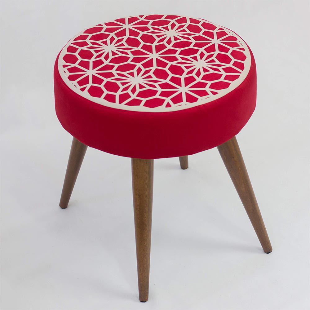 Banqueta Redonda Clara Vermelho/Areia - Lara Decorações