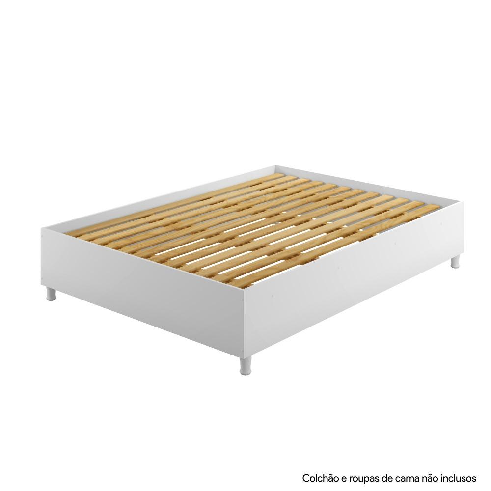Base Cama Casal Box Siena Branco - Kaiki Móveis