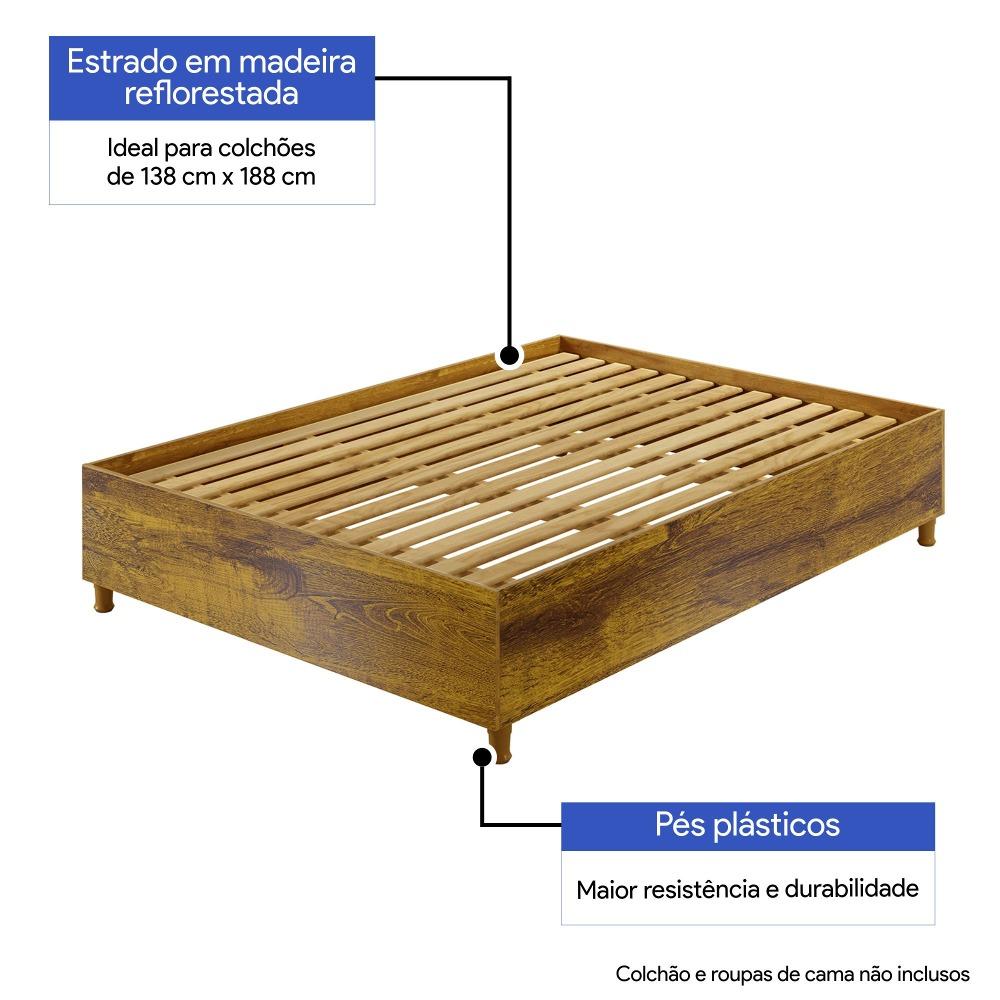 Base Cama Casal Box Siena Rovere  - Kaiki Móveis