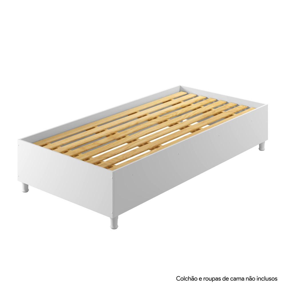 Base Cama Solteiro Box Siena Branco - Kaiki Móveis