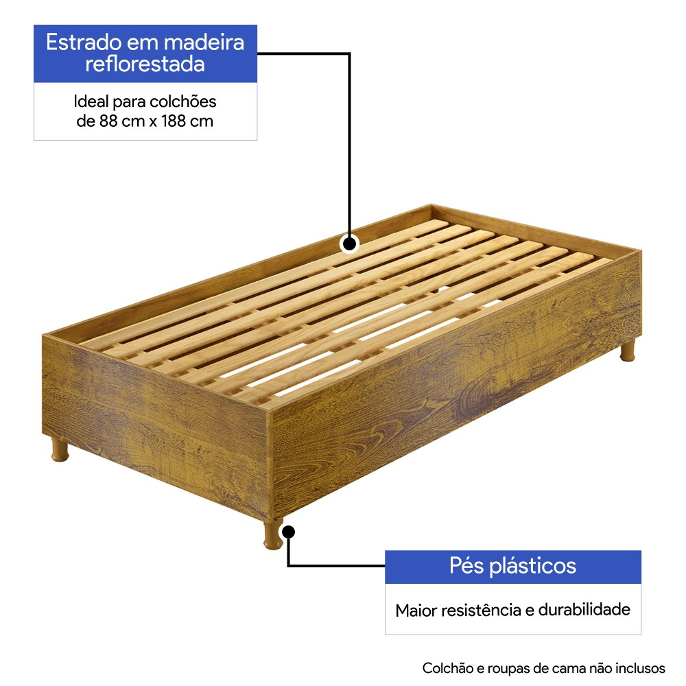 Base Cama Solteiro Box Siena Rovere  - Kaiki Móveis