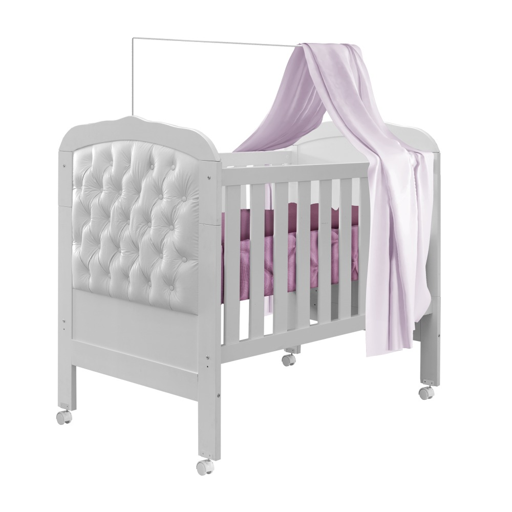 Berço Mini Cama Allegra Capitone II - Branco - Tigus Baby
