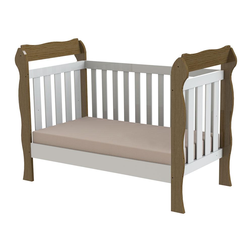 Berço Mini Cama Lila Branco Amadeirado - Carolina Baby