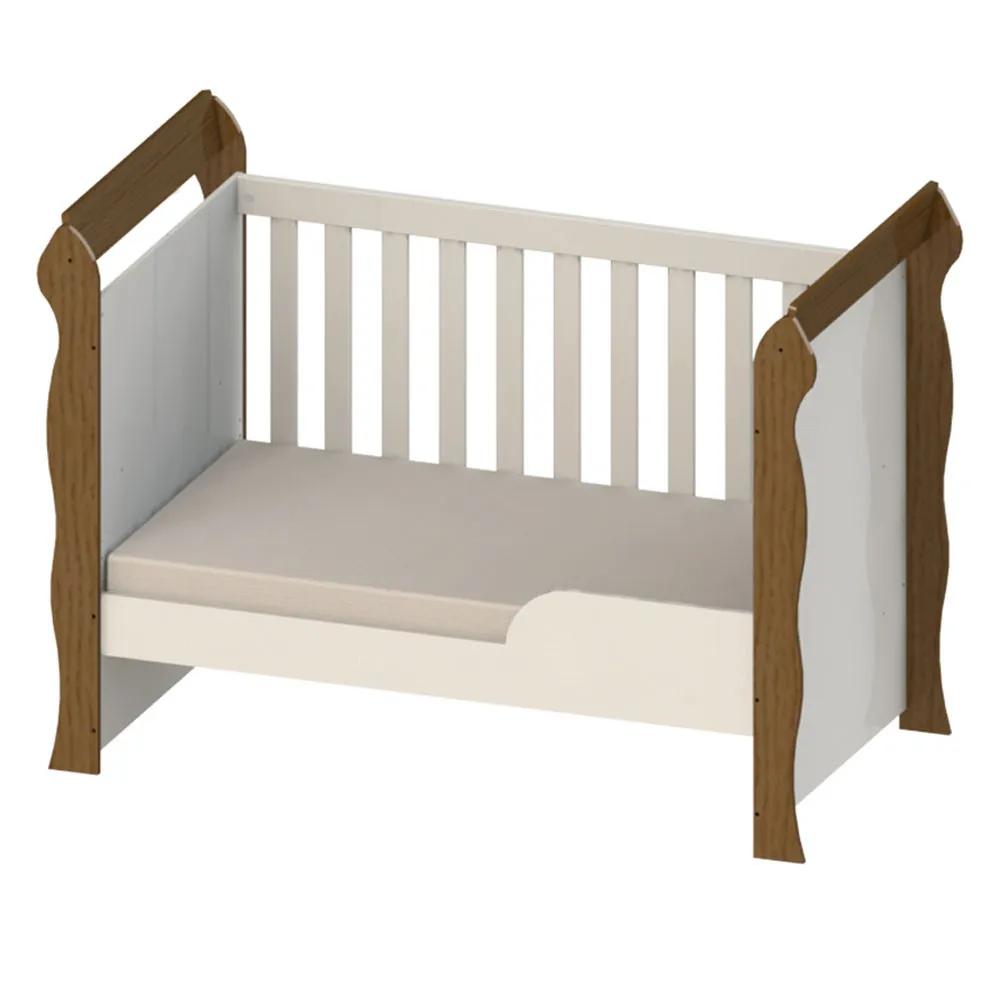 Berço Mini Cama Mirelle Branco Amadeirado - Carolina Baby