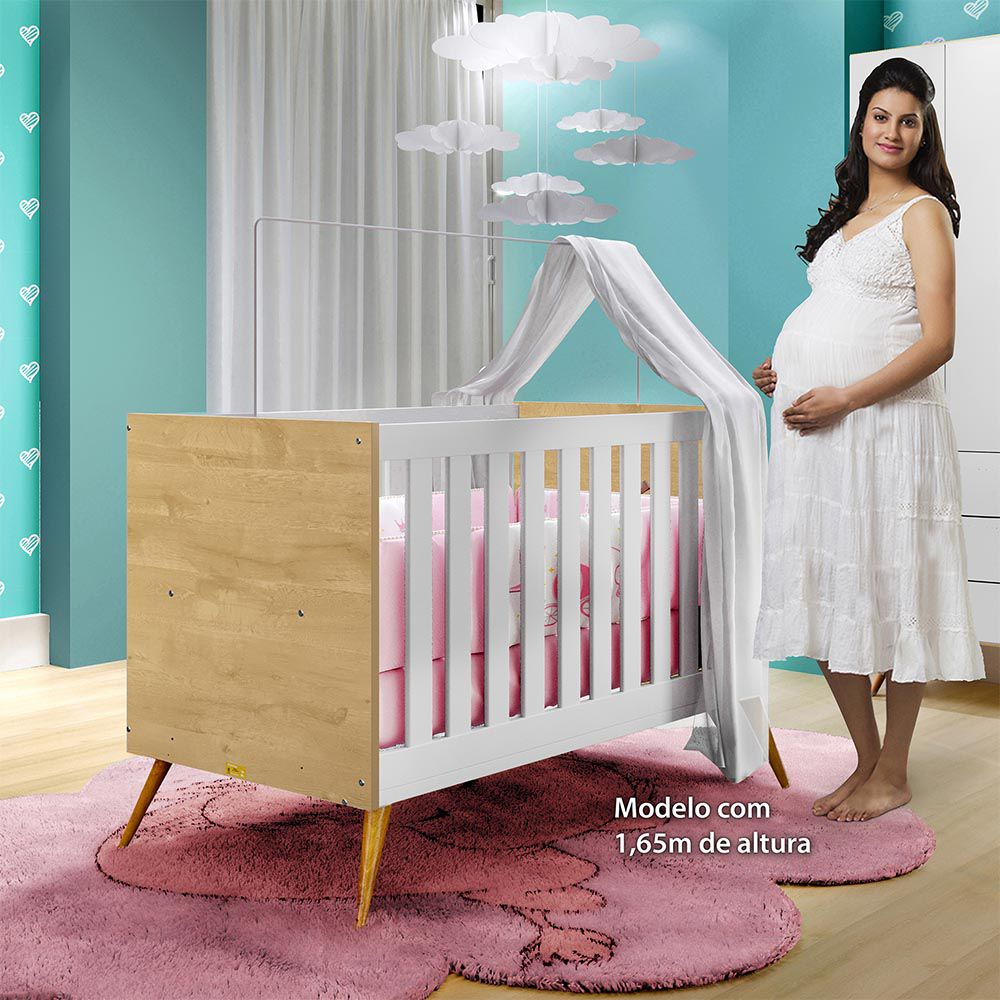 Berço Minicama Dani Branco/Naturale - Tigus Baby