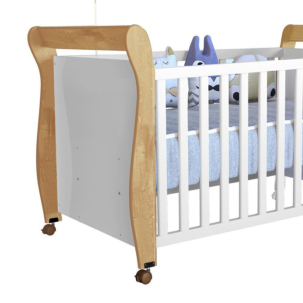 Berço Minicama Slim Branco/Naturale - Tigus Baby
