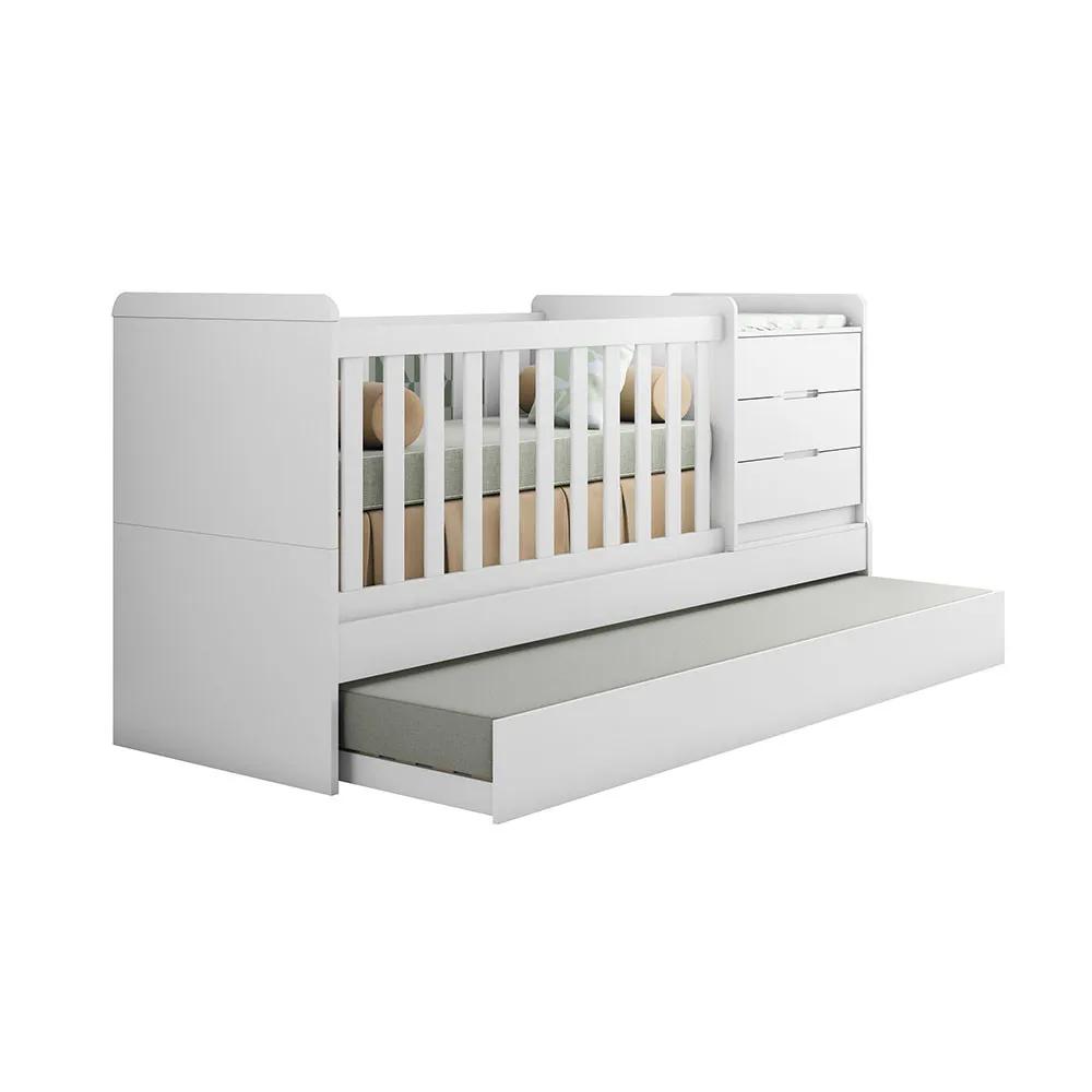 Berço Multifuncional Cléo Branco Fosco - Carolina Baby