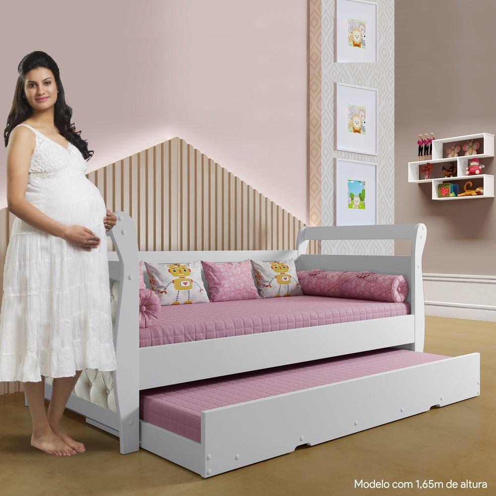 Bicama Infantil Babá Capitonê - Branco/ Suede Cru - Tigus Baby
